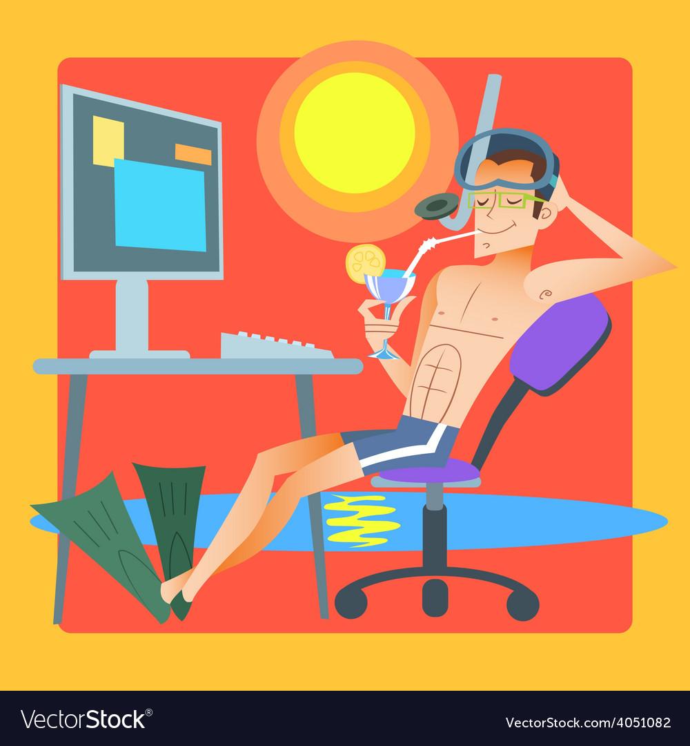 Freelancer works resort computer vector | Price: 3 Credit (USD $3)