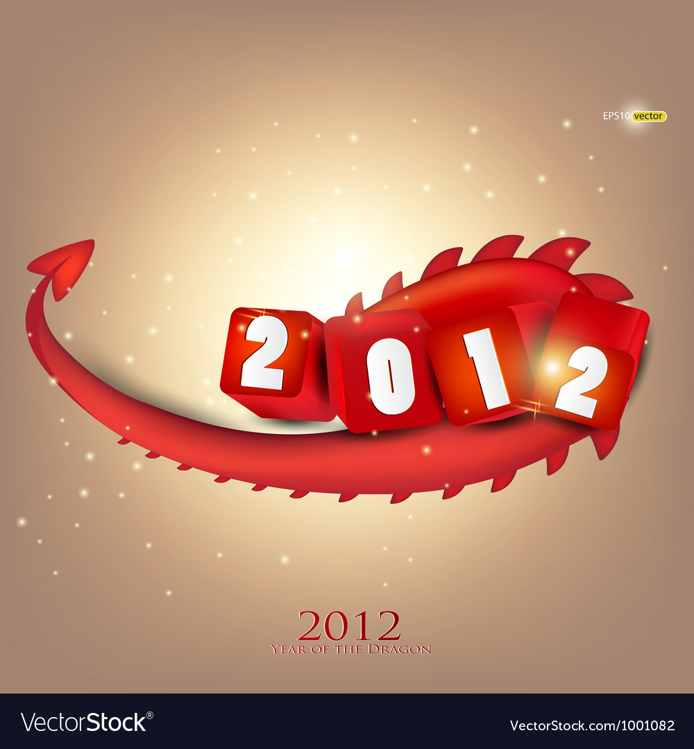 Greeting card 2012 year of dragon vector | Price: 1 Credit (USD $1)
