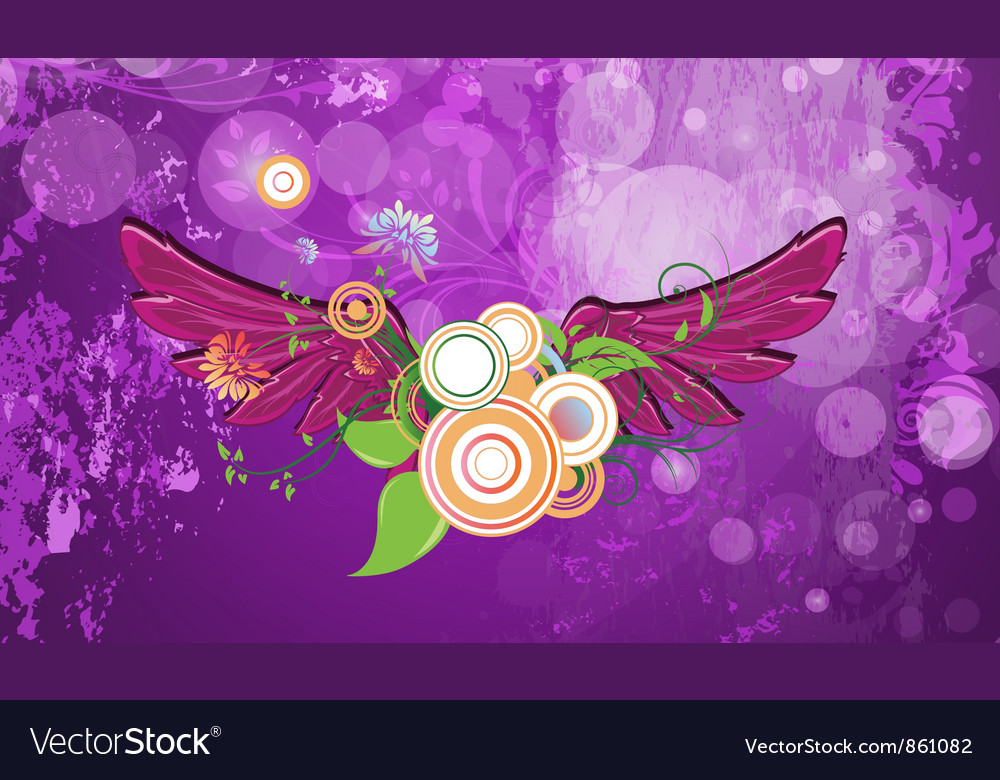 Grunge background with wings vector | Price: 1 Credit (USD $1)