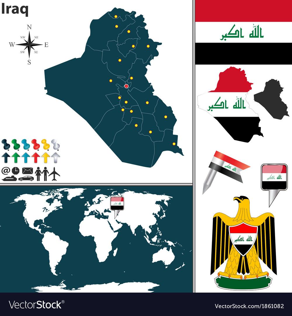 Iraq map world vector | Price: 1 Credit (USD $1)