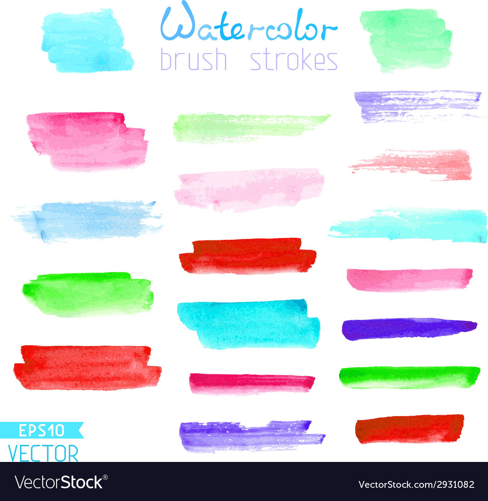 Set of hand-painted brush strokes vector | Price: 1 Credit (USD $1)