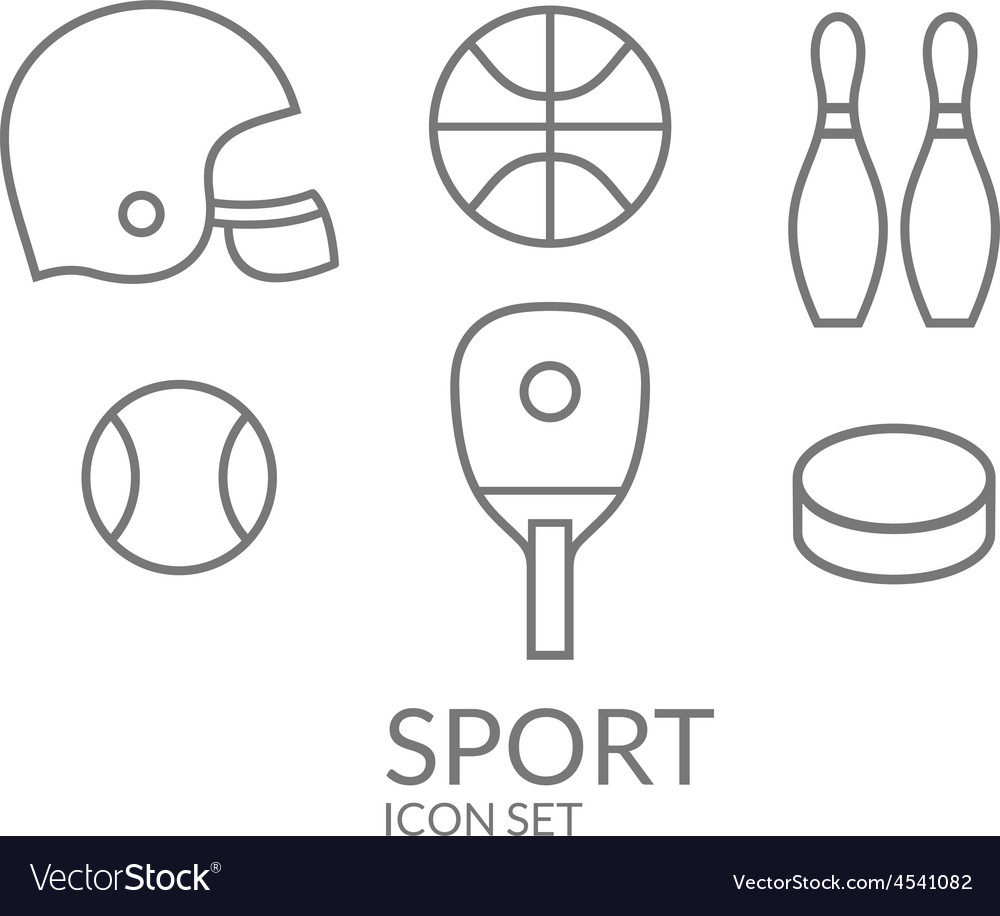Sport icon set outline vector | Price: 1 Credit (USD $1)