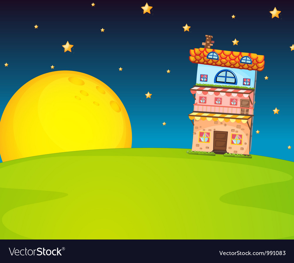 Building and moon vector | Price: 1 Credit (USD $1)