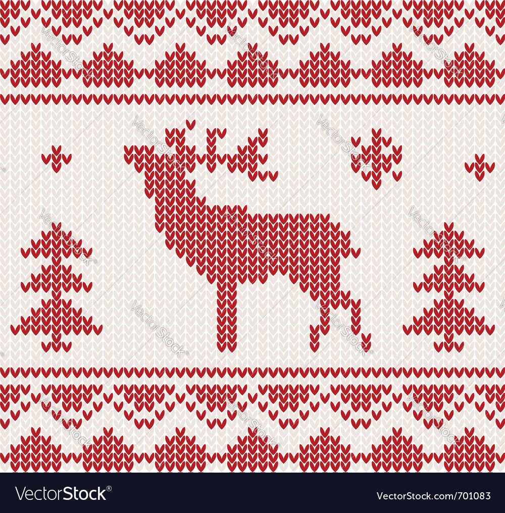 Christmas reindeer knitted background vector | Price: 1 Credit (USD $1)