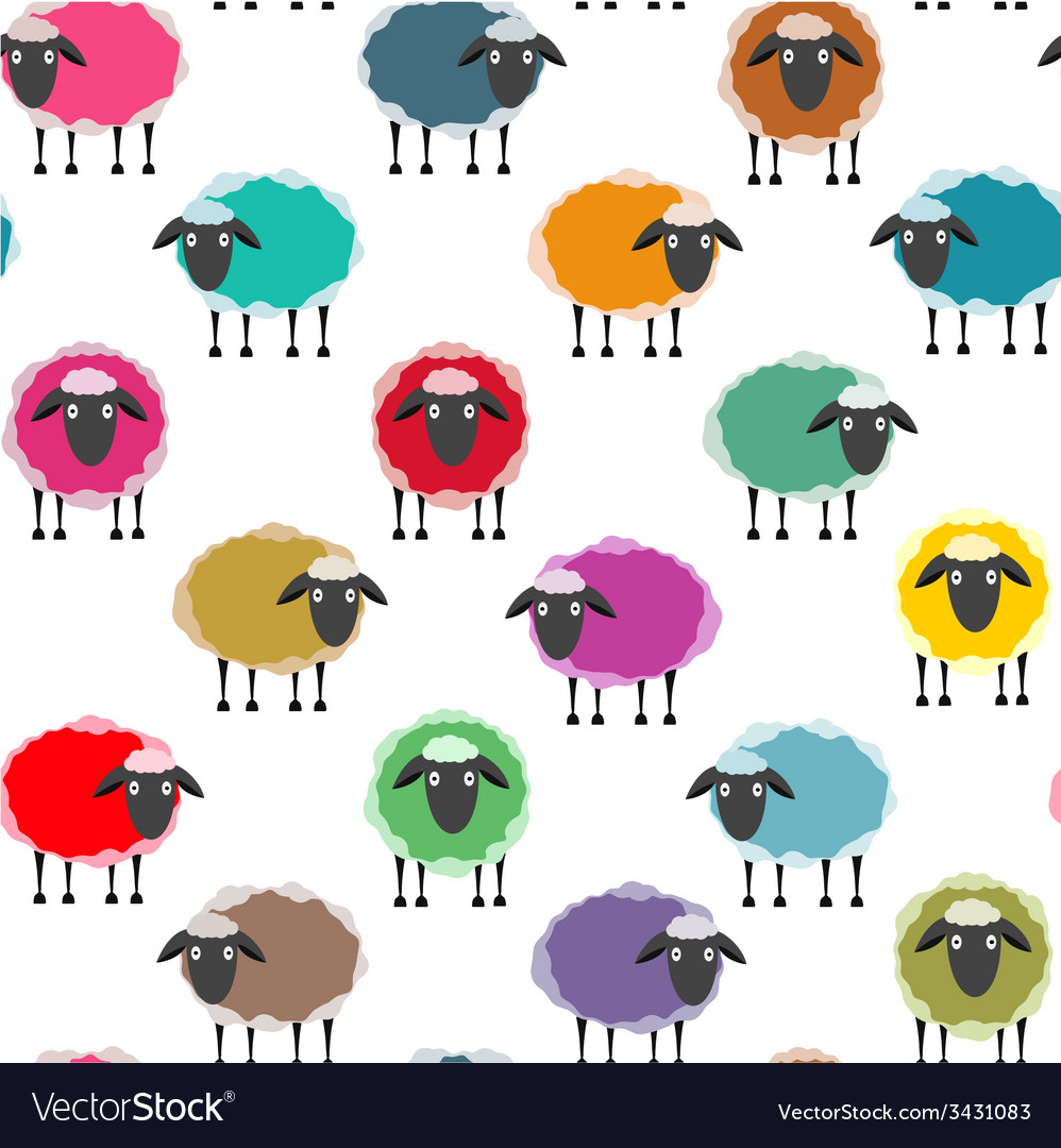 Colorful seamless sheep pattern vector | Price: 1 Credit (USD $1)