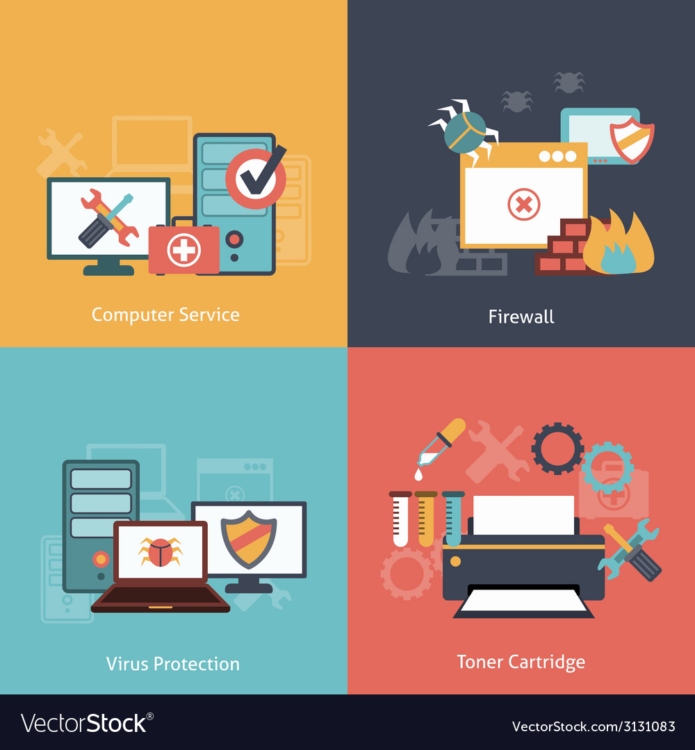 Computer repair flat icons composition vector | Price: 1 Credit (USD $1)