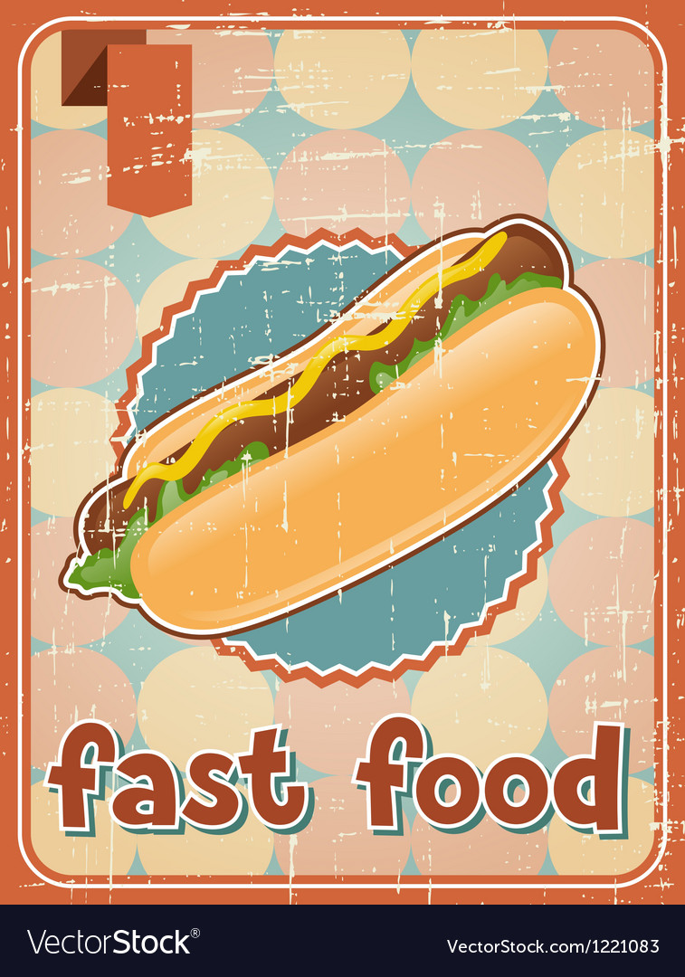 Fast food background with hot dog in retro style vector | Price: 1 Credit (USD $1)