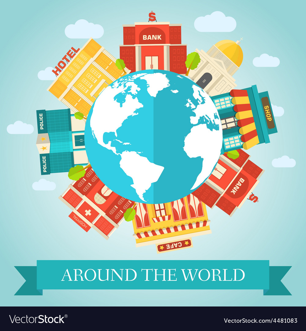 Flat colorful sity around of the world vector | Price: 1 Credit (USD $1)