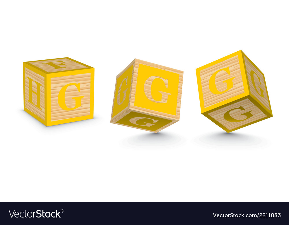 Letter g wooden alphabet blocks vector | Price: 1 Credit (USD $1)