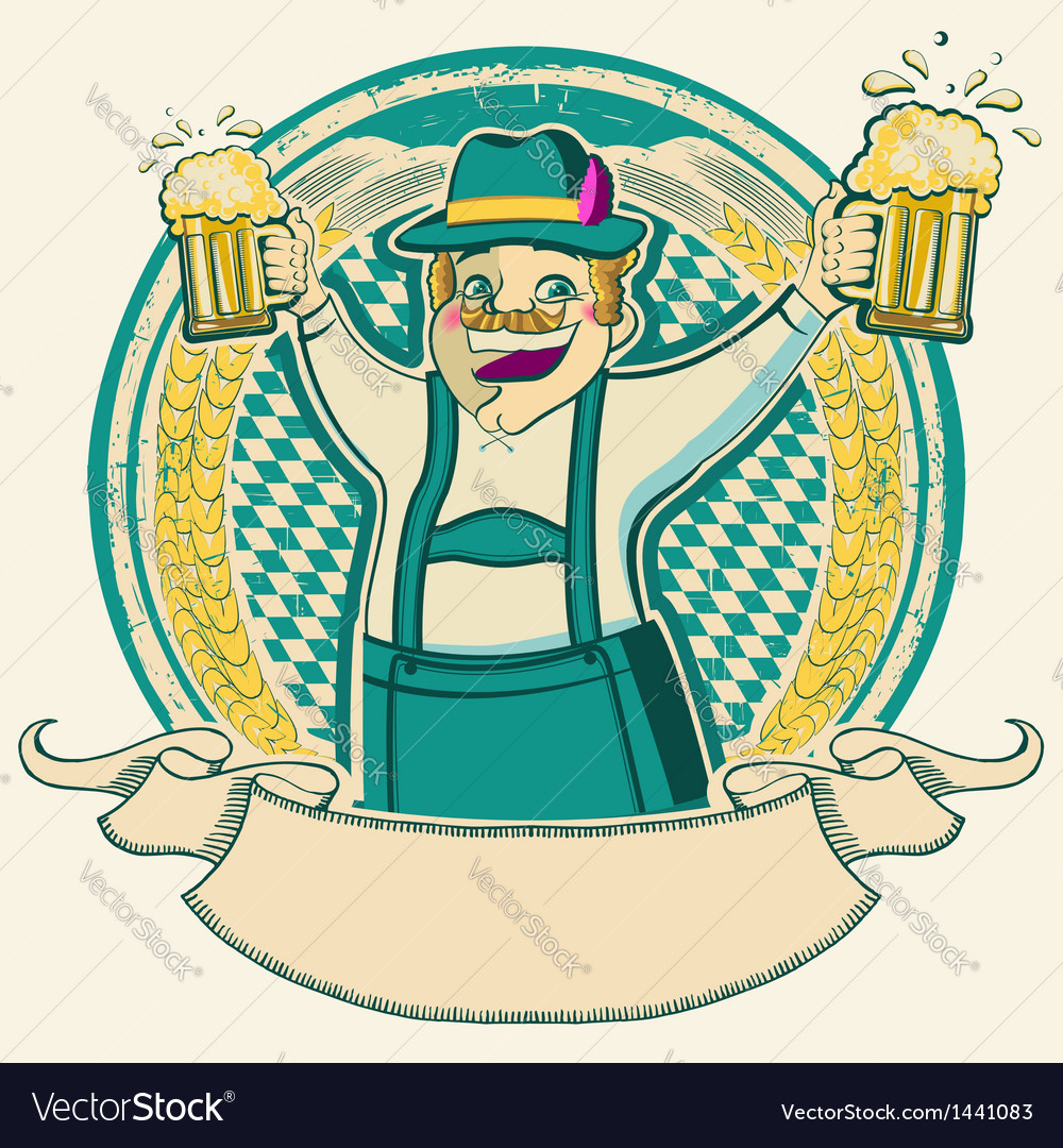 Oktoberfest vintage label with man and glasses of vector   Price: 1 Credit (USD $1)