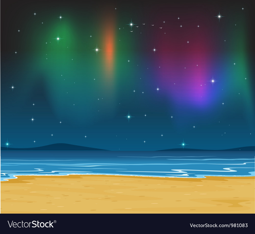 Sea shore evening vector | Price: 1 Credit (USD $1)