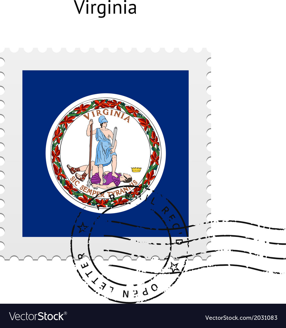 State of virginia flag postage stamp vector | Price: 1 Credit (USD $1)