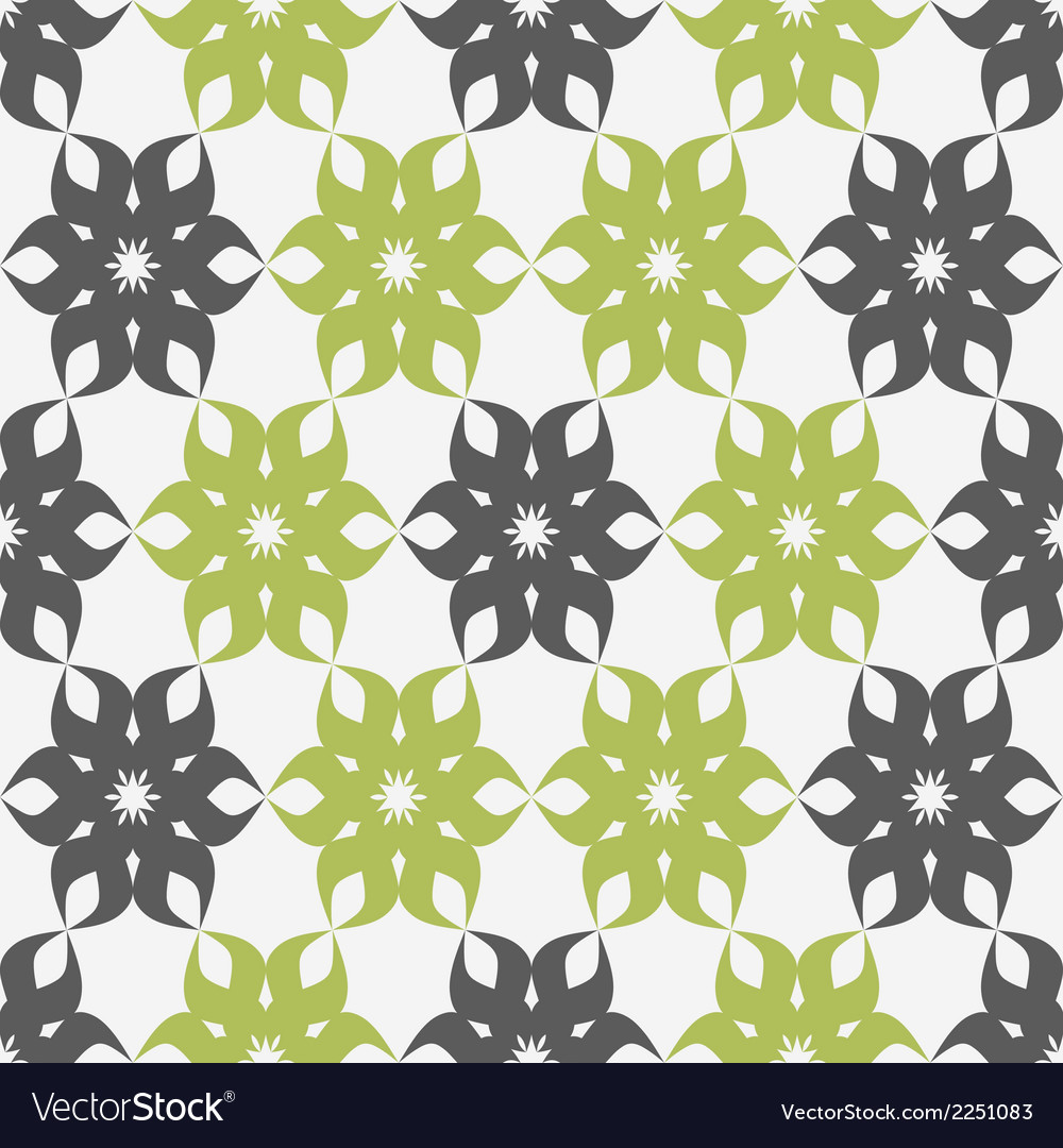 Stylized floral pattern green and gray flower vector | Price: 1 Credit (USD $1)