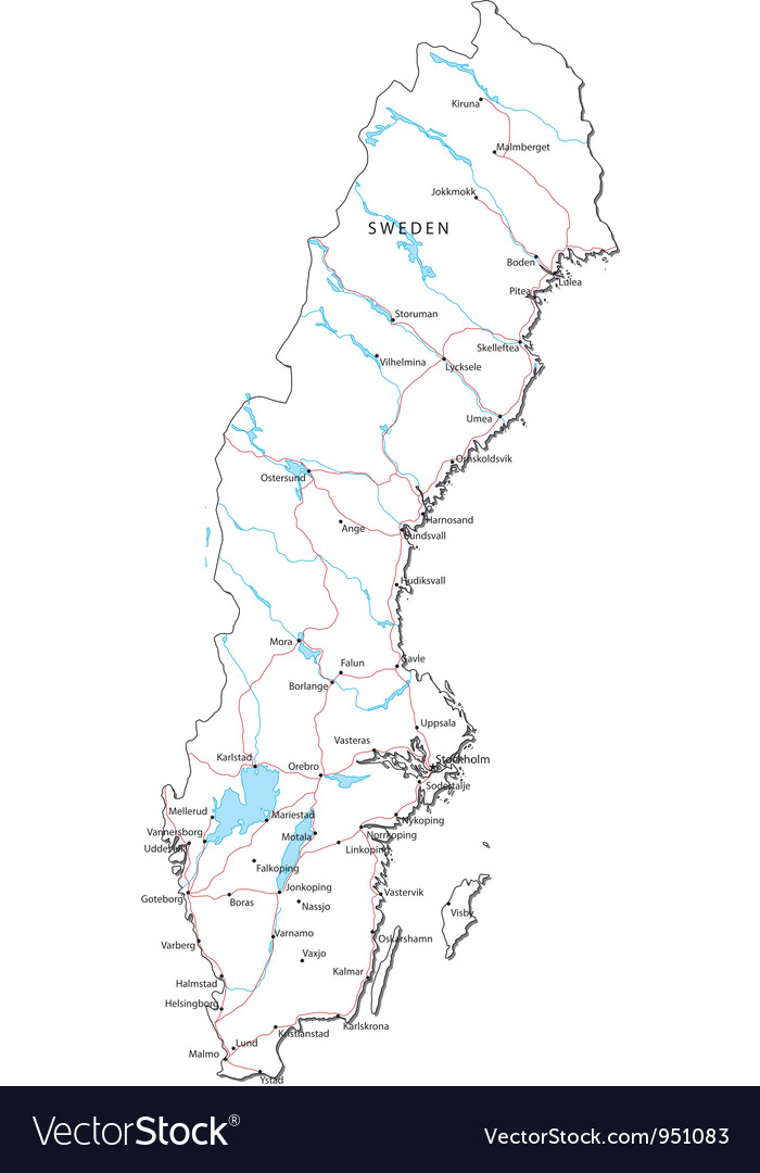 Sweden black white map vector | Price: 1 Credit (USD $1)