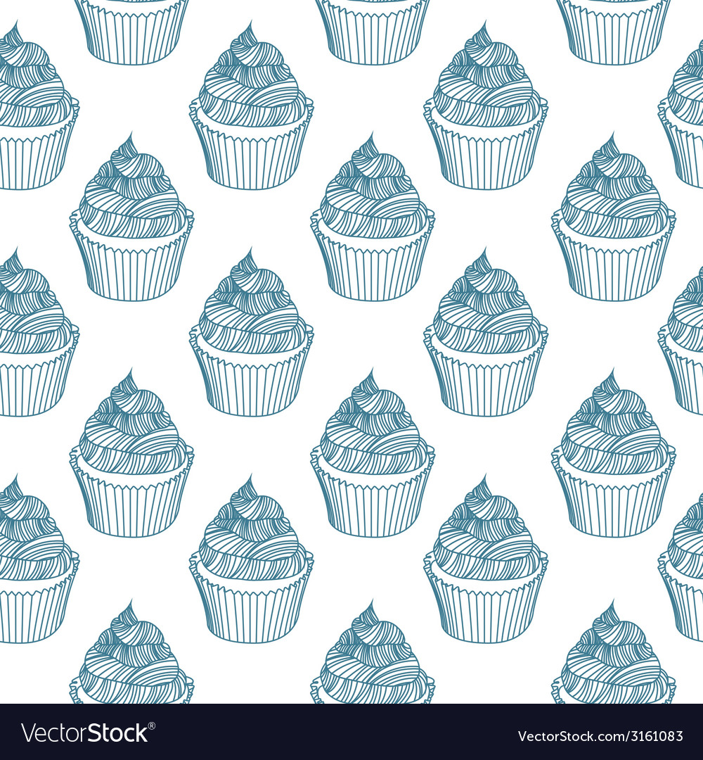 Vintage cupcake with chalks sketches seamless vector | Price: 1 Credit (USD $1)