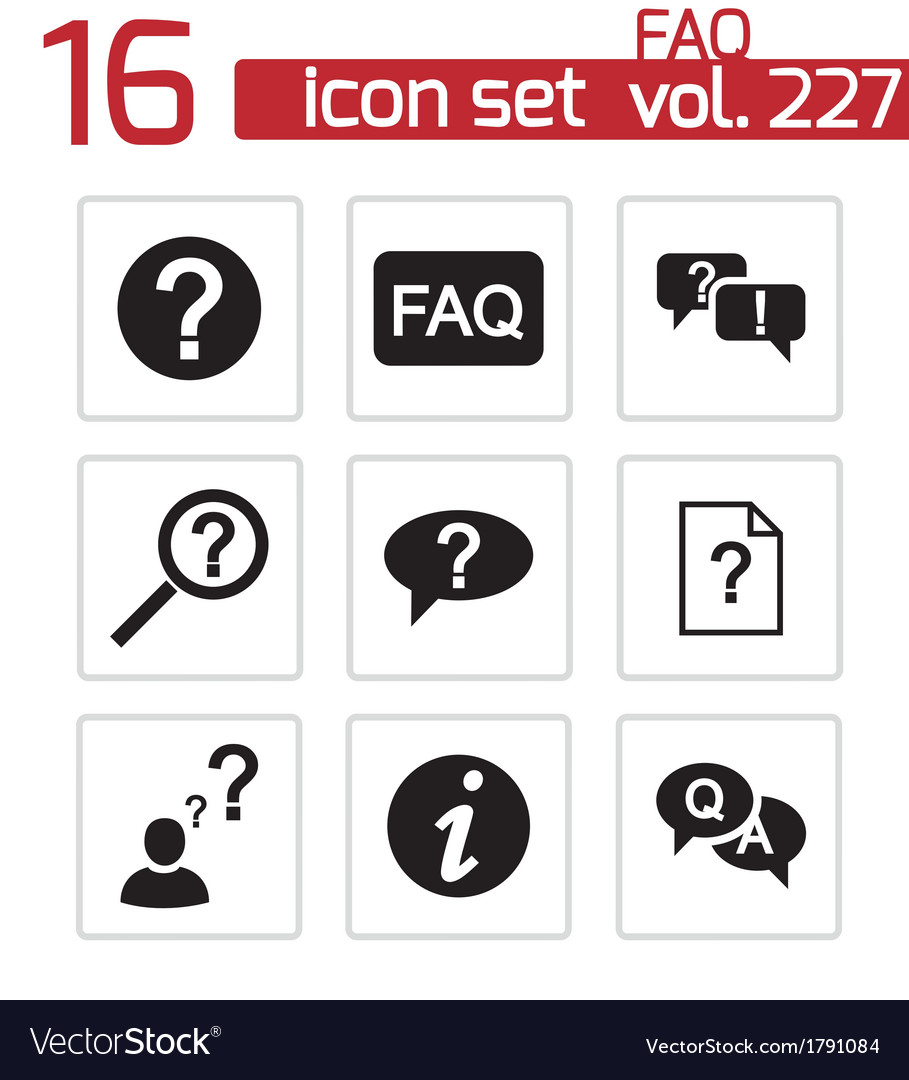 Black faq icons set vector | Price: 1 Credit (USD $1)