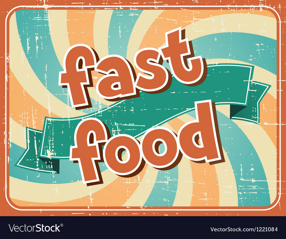 Fast food background in retro style vector | Price: 1 Credit (USD $1)