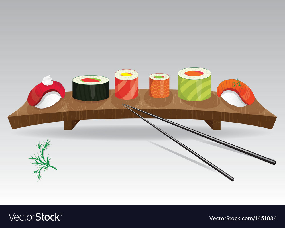Food sea set sushi vector | Price: 1 Credit (USD $1)