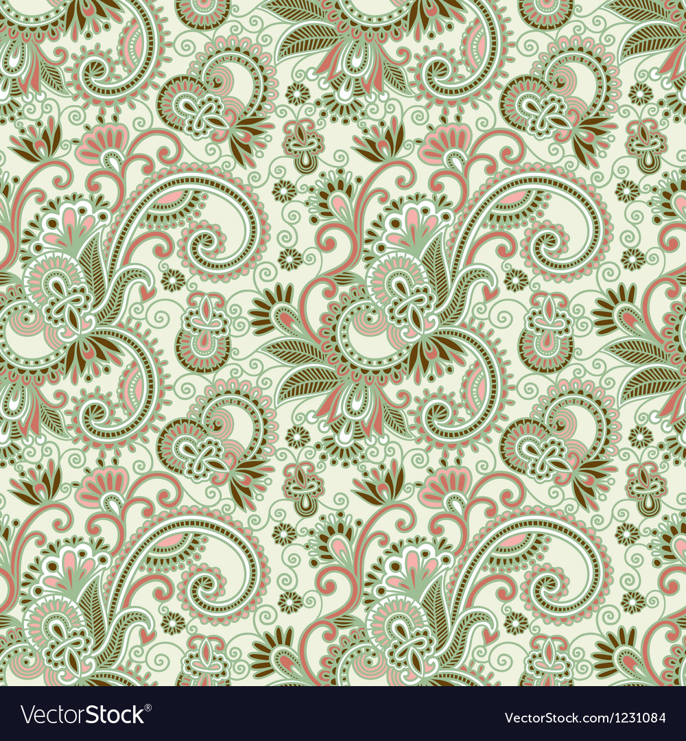 Hand draw ornate seamless flower paisley design ba vector | Price: 1 Credit (USD $1)