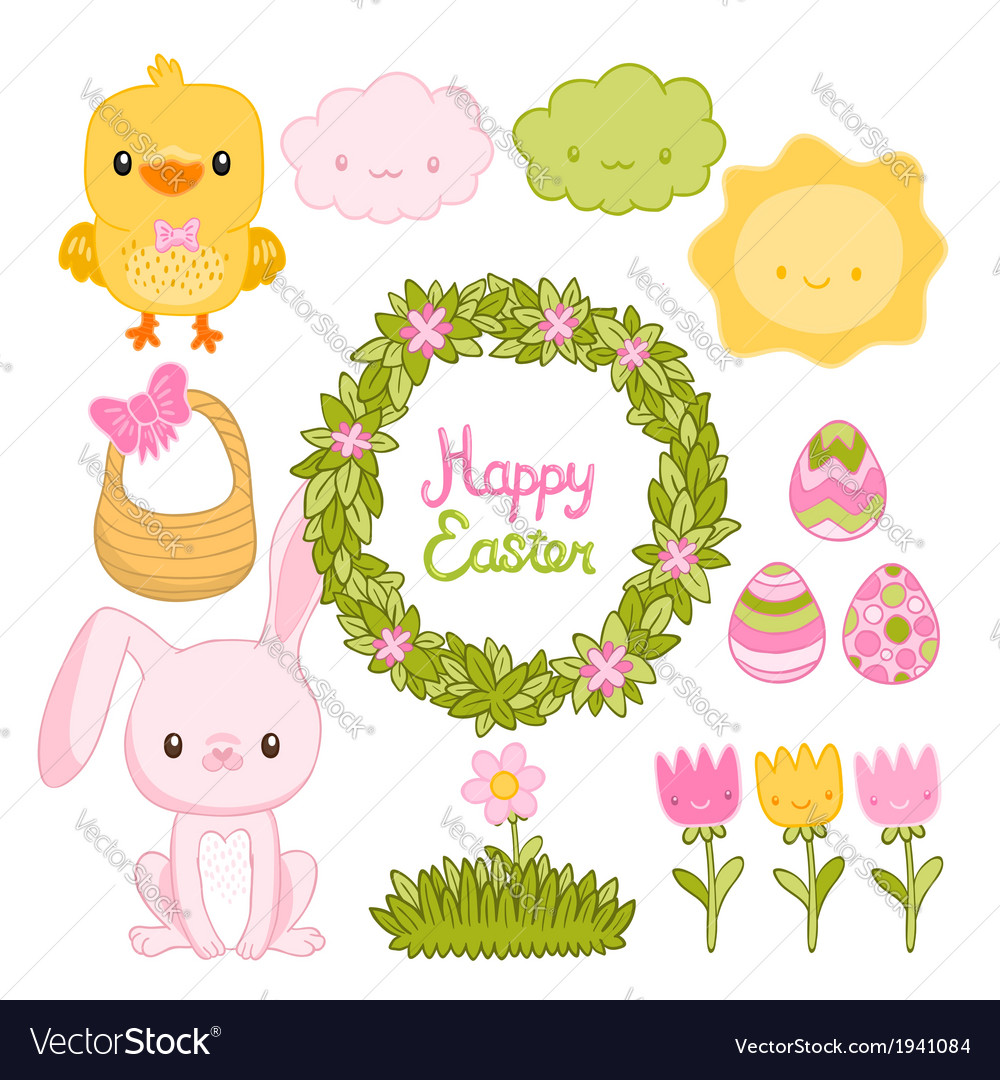 Happy easter set with cartoon cute bunny chicken vector | Price: 1 Credit (USD $1)