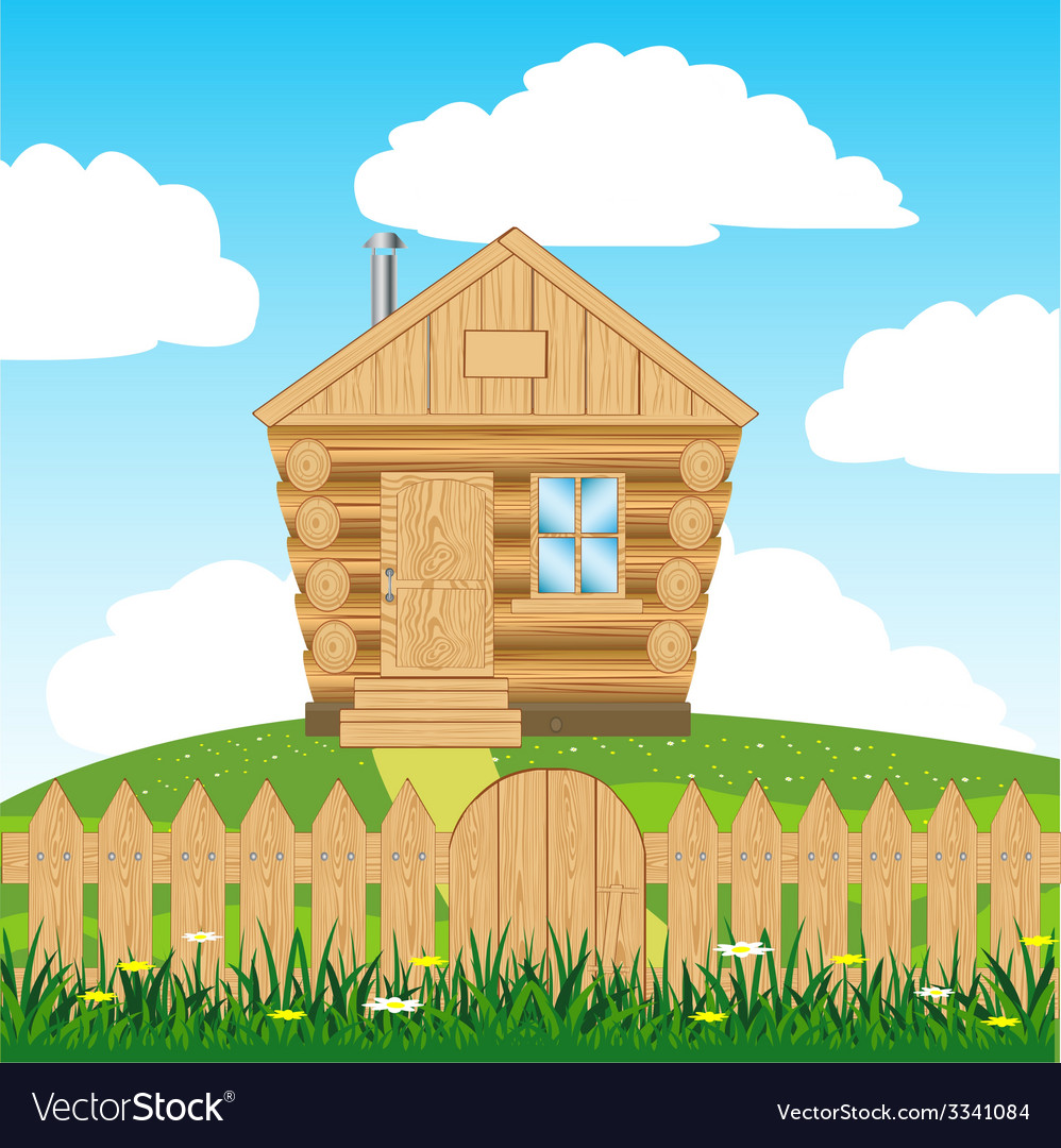 House on hill vector | Price: 1 Credit (USD $1)