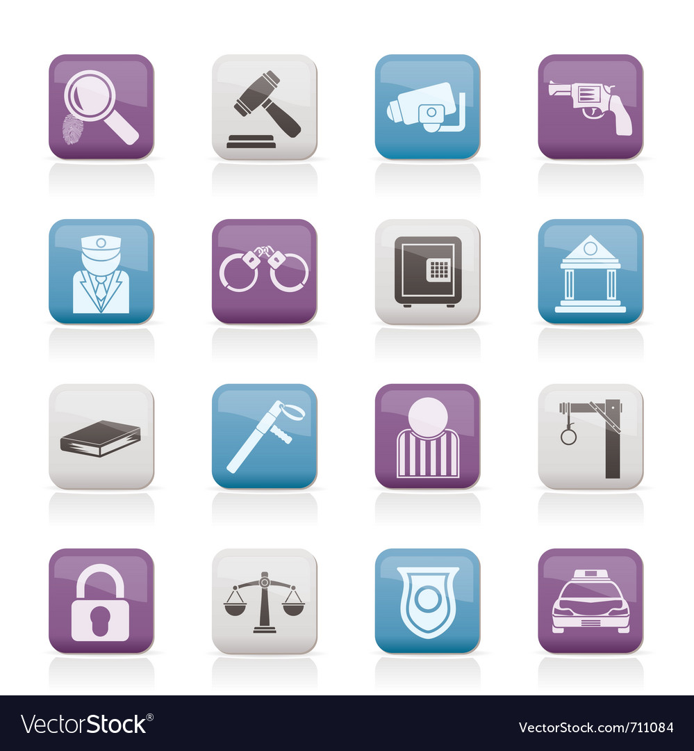 Law and crime icons vector | Price: 1 Credit (USD $1)