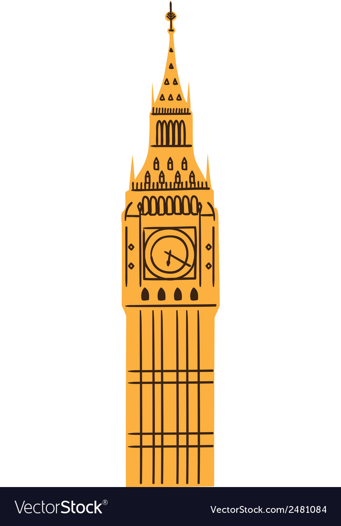 London big ben tower isolated on white vector | Price: 1 Credit (USD $1)