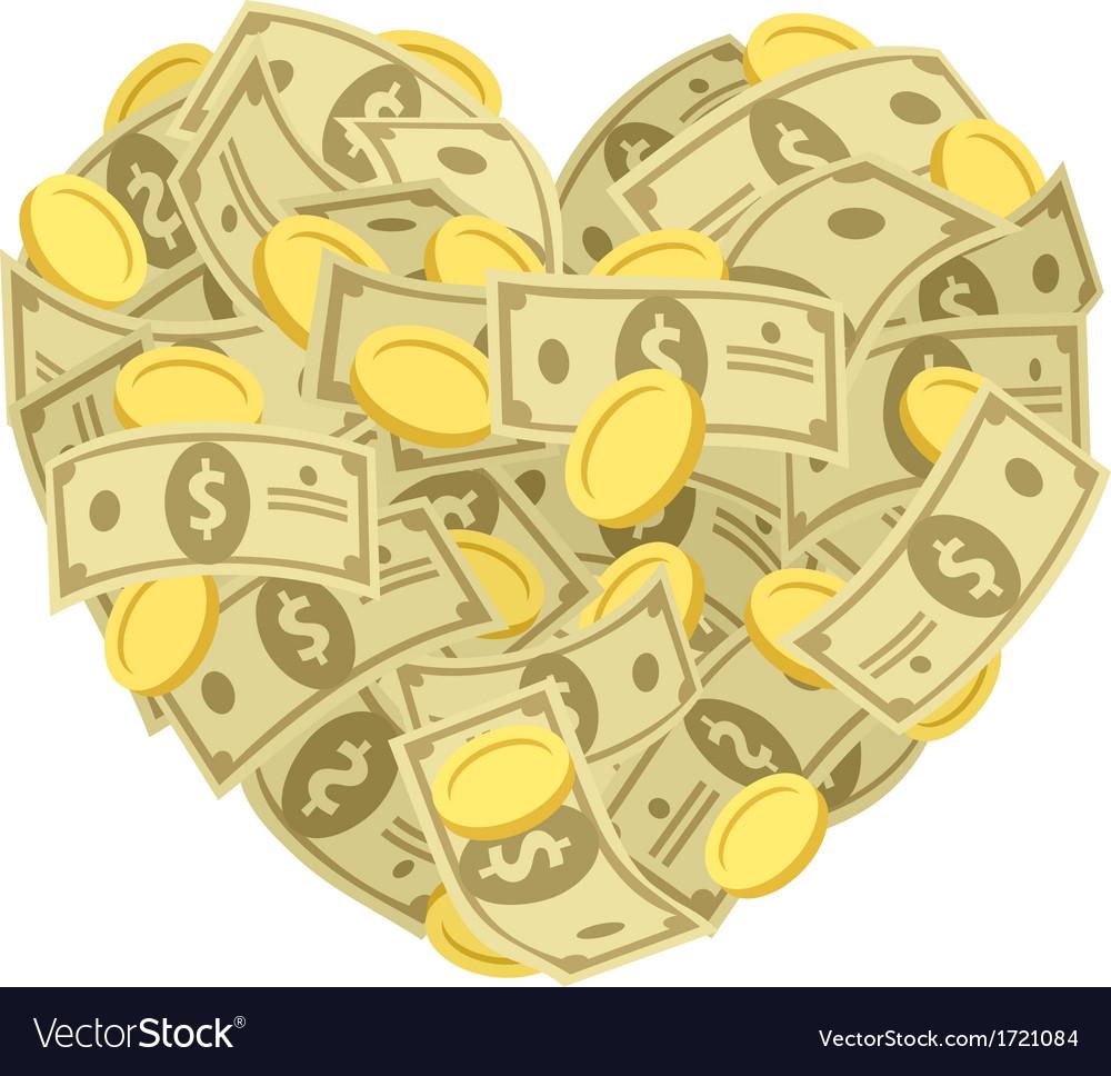 Money heart vector | Price: 1 Credit (USD $1)