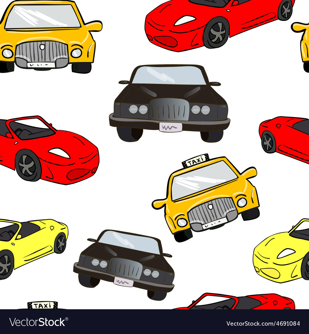 Seamless background collorful cartoon cars vector   Price: 1 Credit (USD $1)