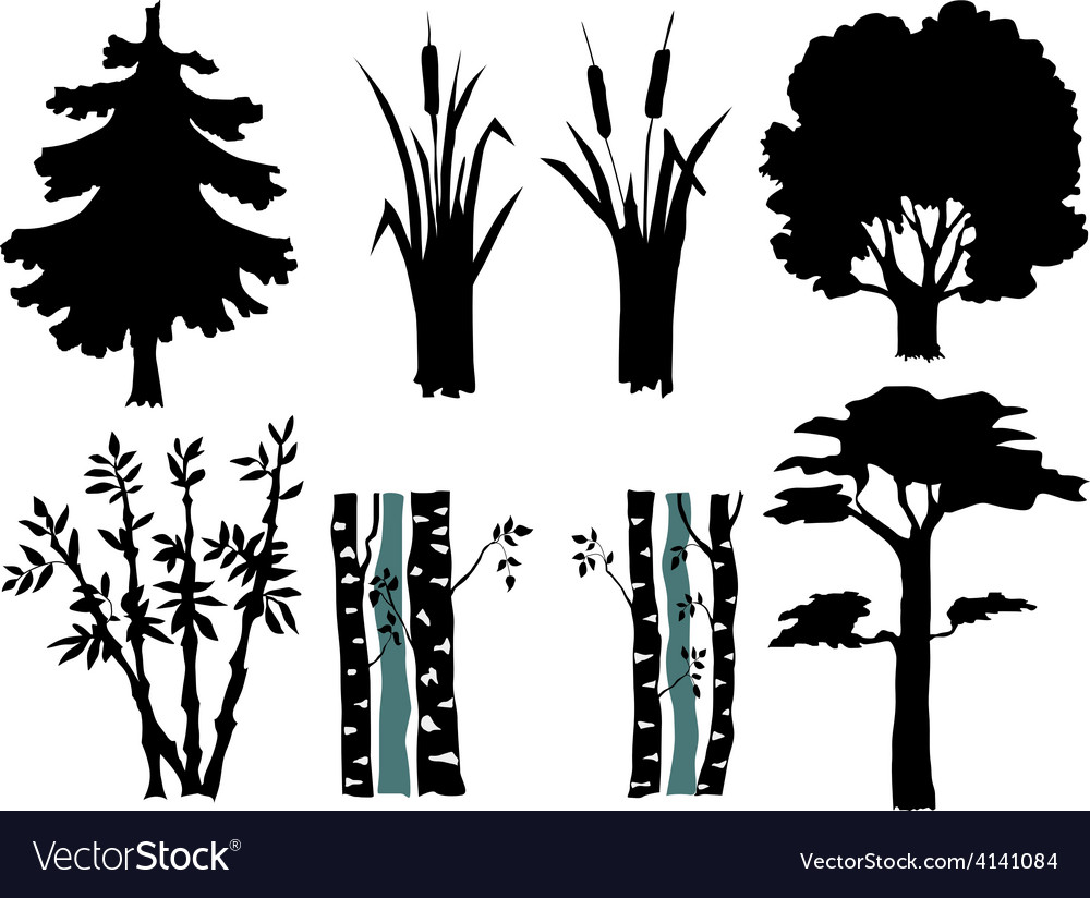 Set of silhouettes of plants vector | Price: 1 Credit (USD $1)