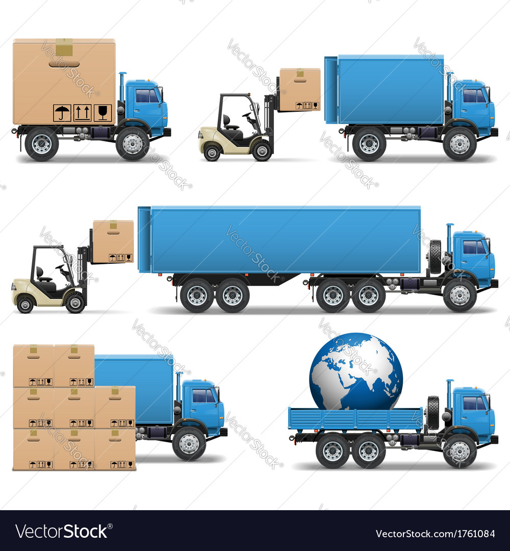 Shipment trucks icons set 2 vector | Price: 3 Credit (USD $3)