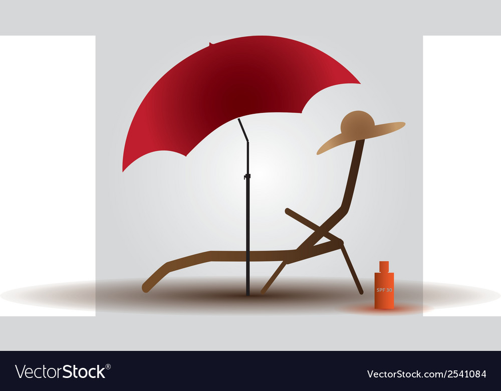 Summer beach parasol and bed eps10 vector | Price: 1 Credit (USD $1)