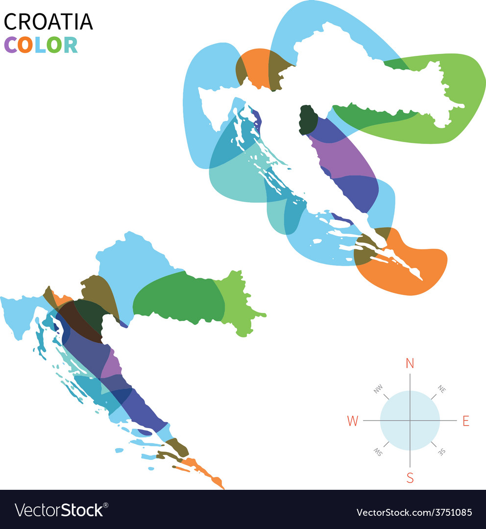 Abstract color map of croatia vector | Price: 1 Credit (USD $1)