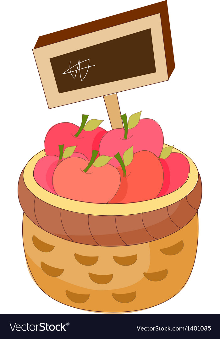 An apples in the basket vector | Price: 1 Credit (USD $1)