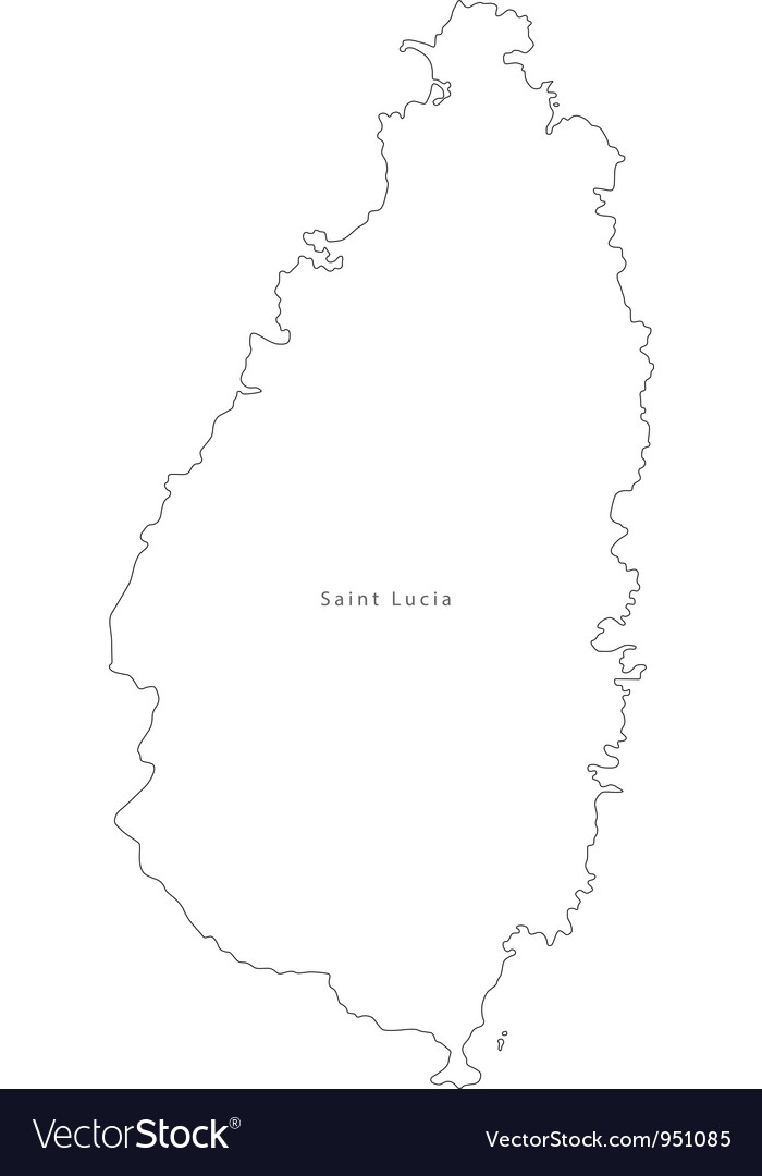 Black white saint lucia outline map vector   Price: 1 Credit (USD $1)