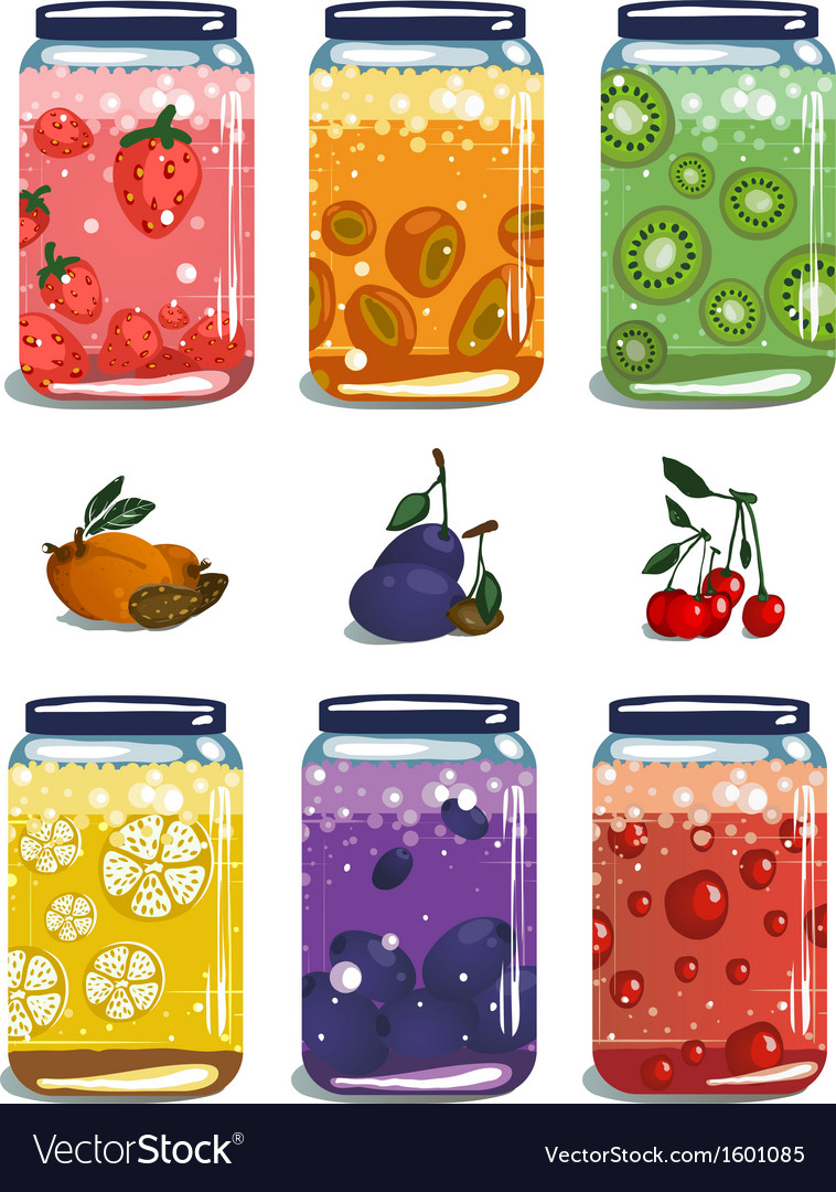 Bright canned sweet fruit jam collection vector | Price: 1 Credit (USD $1)