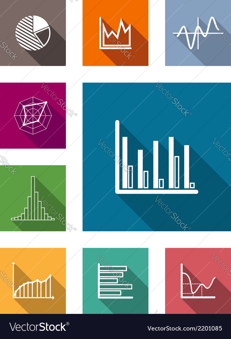 Color flat icons for various types of diagrams vector | Price: 1 Credit (USD $1)