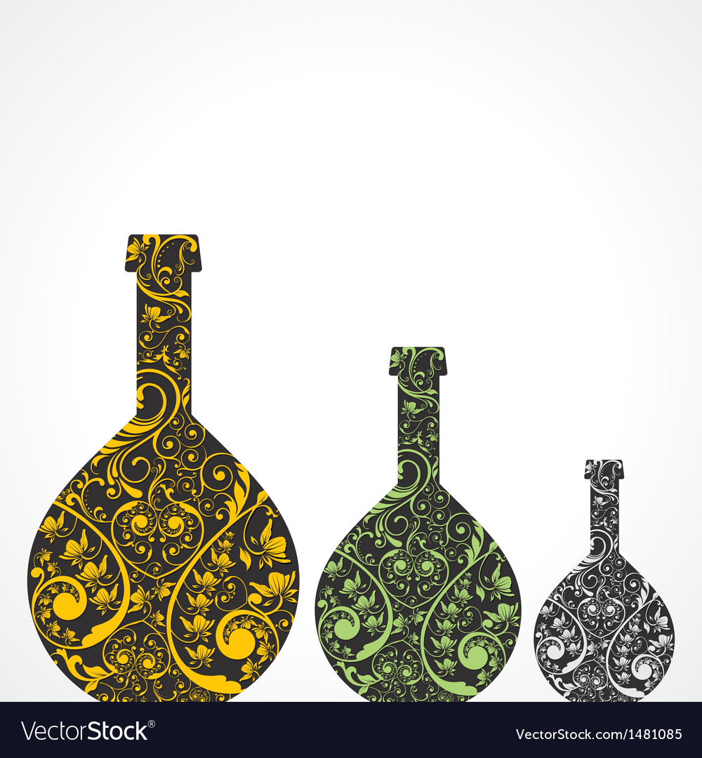 Creative floral wine bottles vector   Price: 1 Credit (USD $1)
