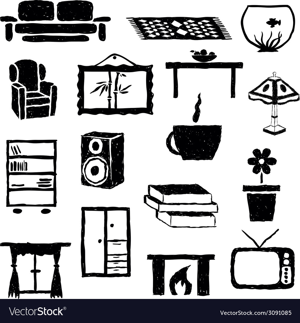 Living room doodle images vector | Price: 1 Credit (USD $1)
