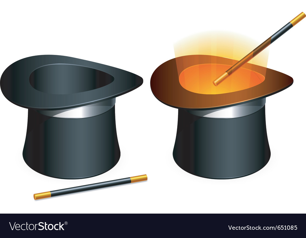 Magic hat and wand vector | Price: 3 Credit (USD $3)