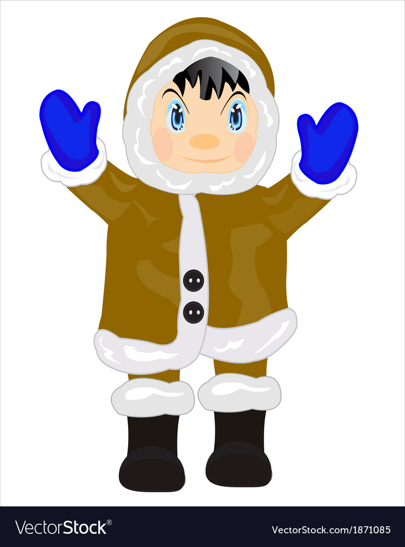 Man eskimo on white vector | Price: 1 Credit (USD $1)