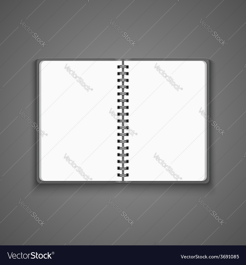 Realistic blank open notebook vector | Price: 1 Credit (USD $1)