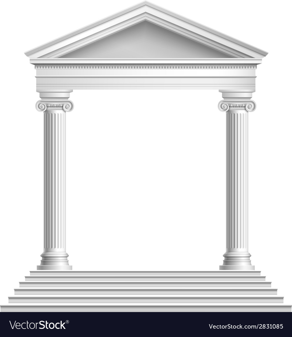 Temple front with columns vector | Price: 1 Credit (USD $1)