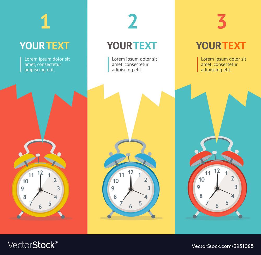 Wakeup clock option banner flat design vector | Price: 1 Credit (USD $1)