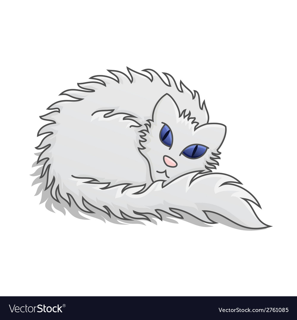 White fluffy cat vector | Price: 1 Credit (USD $1)