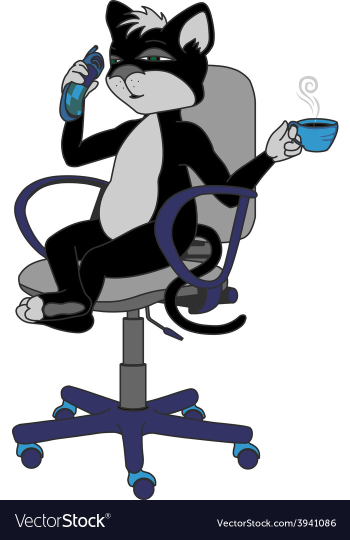 Cat in office chair with cup of coffee and phone vector | Price: 1 Credit (USD $1)