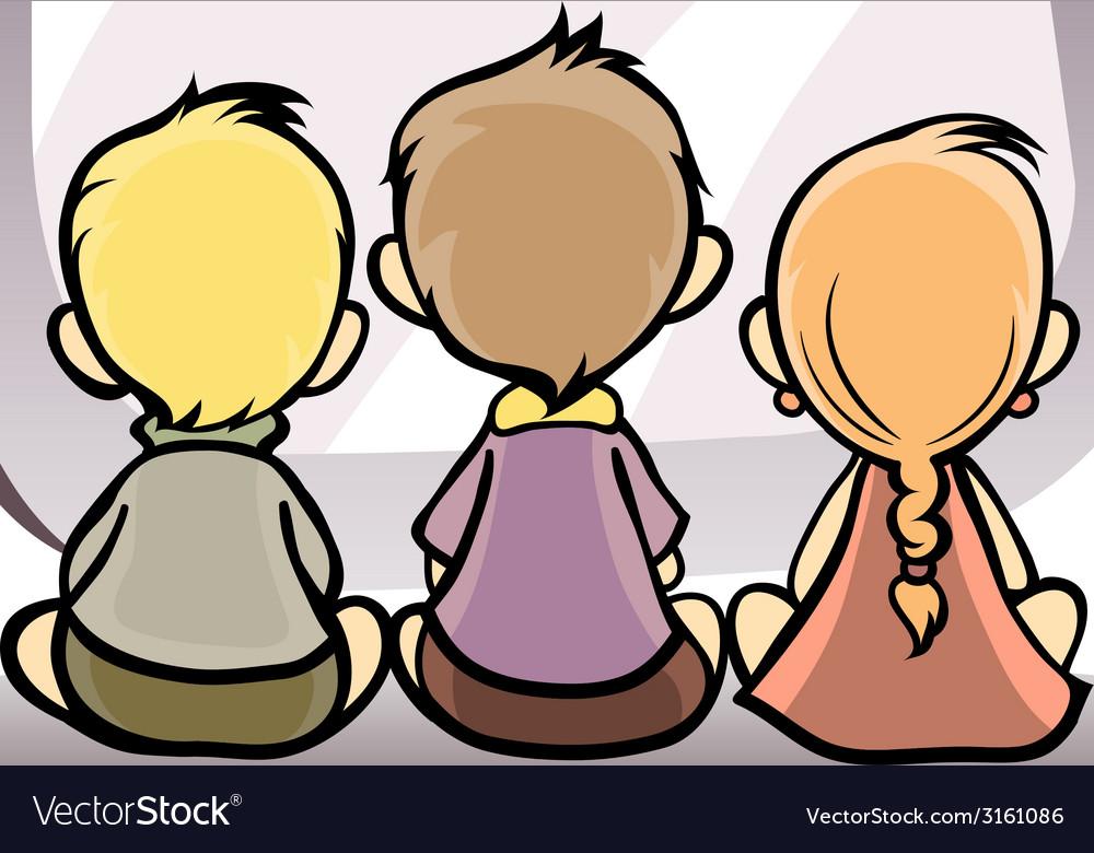 Children watching tv vector | Price: 1 Credit (USD $1)