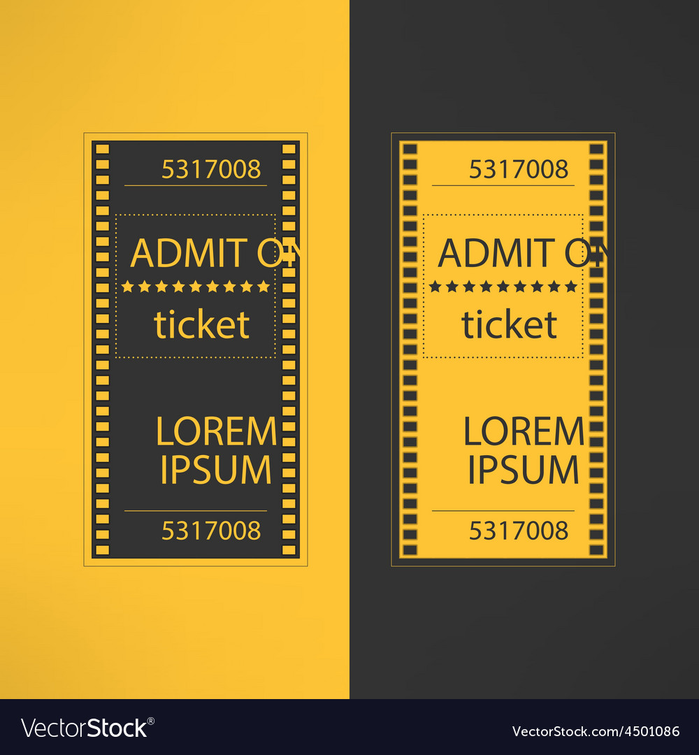 Entry cinema ticket in film footage style admit vector | Price: 1 Credit (USD $1)