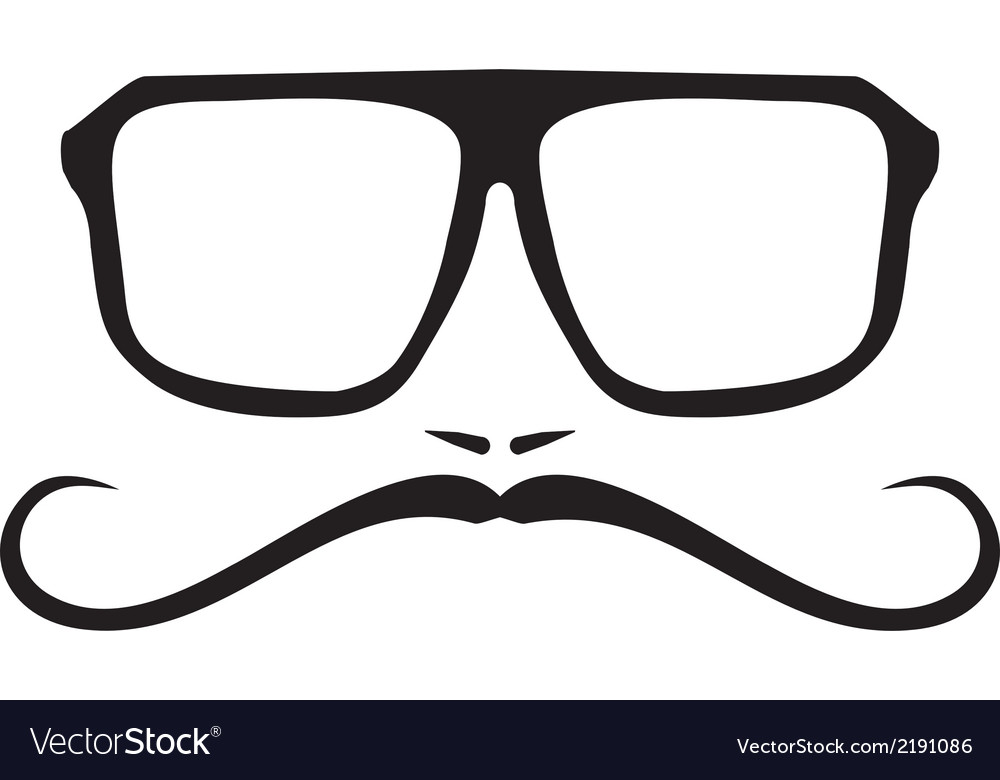 Hipter with glasses and mustache face vector | Price: 1 Credit (USD $1)