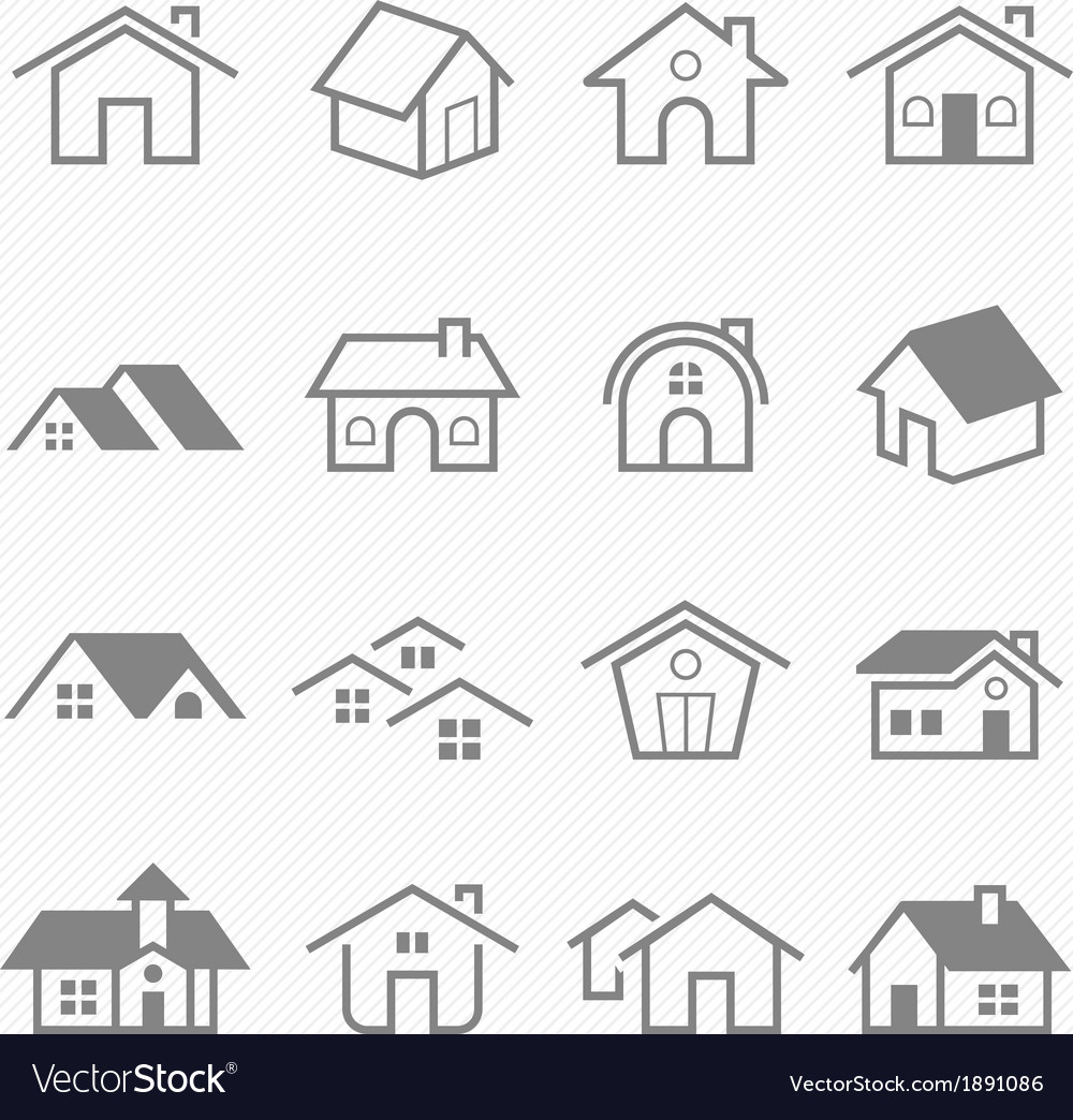 Home outline stroke symbol icons vector | Price: 1 Credit (USD $1)